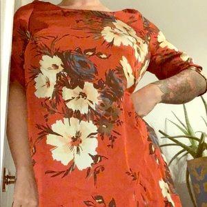 Women's Vintage orange floral hippie boho dress